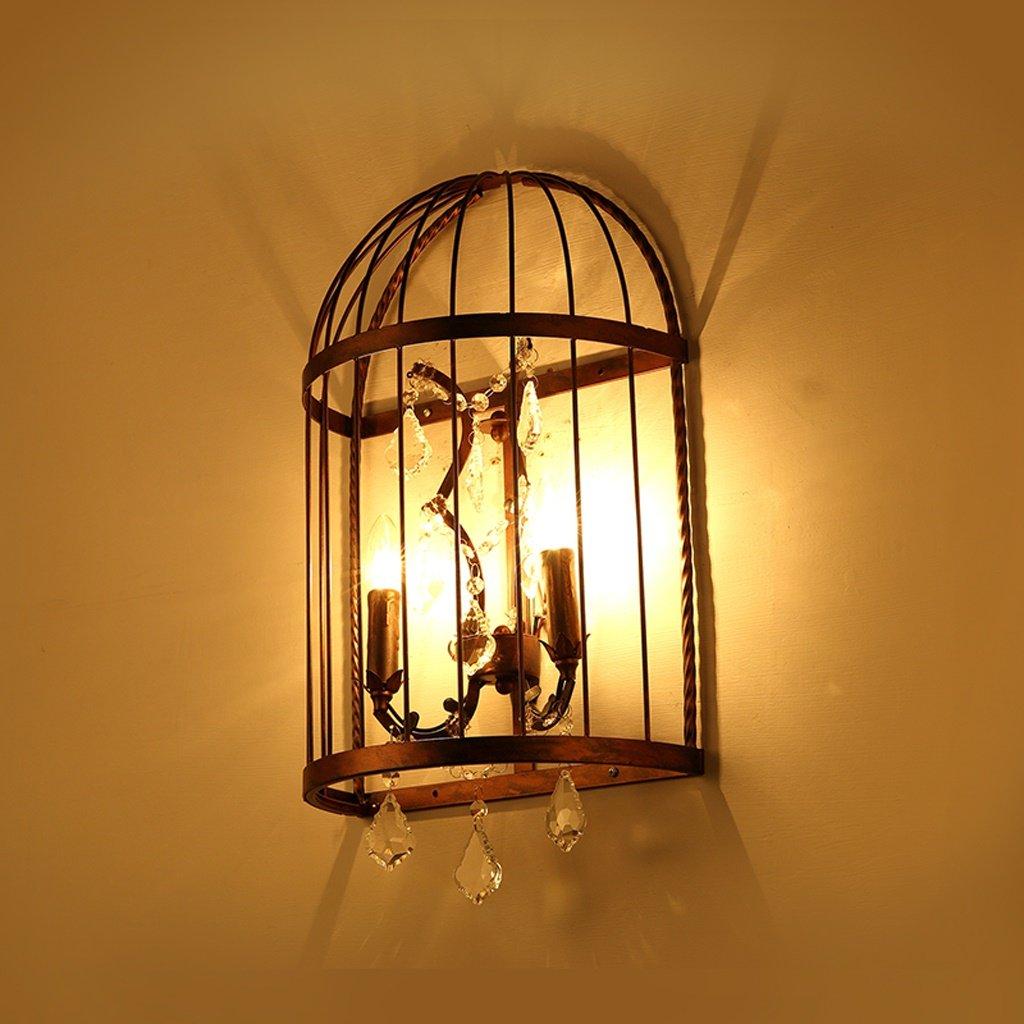 Good thing lampada da parete LOFT Camera Da Letto Comodino Industriale Navata Personalità Creativa In Ferro Battuto Uccello Gabbia Crystal Wall