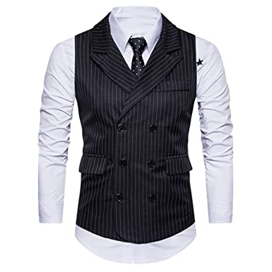 9032e26d4a028c Tidecc Mens Waistcoat Blazer Jacket Gilet Sleeveless Slim Fit Business Dress  Suit Formal Casual Button Down Suit Vests  Amazon.co.uk  Clothing
