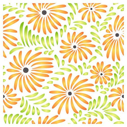 Flower Pattern Stencil - 10 x 10 inch (M) - Reusable Flora Allover Daisy Pattern Wall Stencils for Painting - Use on Paper Projects Scrapbook Journal Walls Floors Fabric Furniture Glass Wood etc.