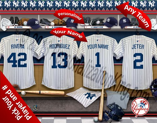 New York Yankees Team Locker Room Clubhouse Personlized Officially Licensed MLB Photo ()
