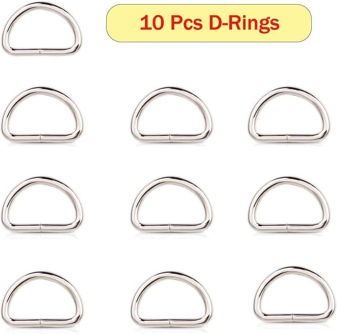Swivel Lobster Clasps Clips Lanyard Snap Hook and Slide Buckles and Metal D Ring Semi-Circular D Ring for Handbag Bags Cat Dog Collar Buckles Ring Hand DIY Accessories Dog Leash Hardware Craft