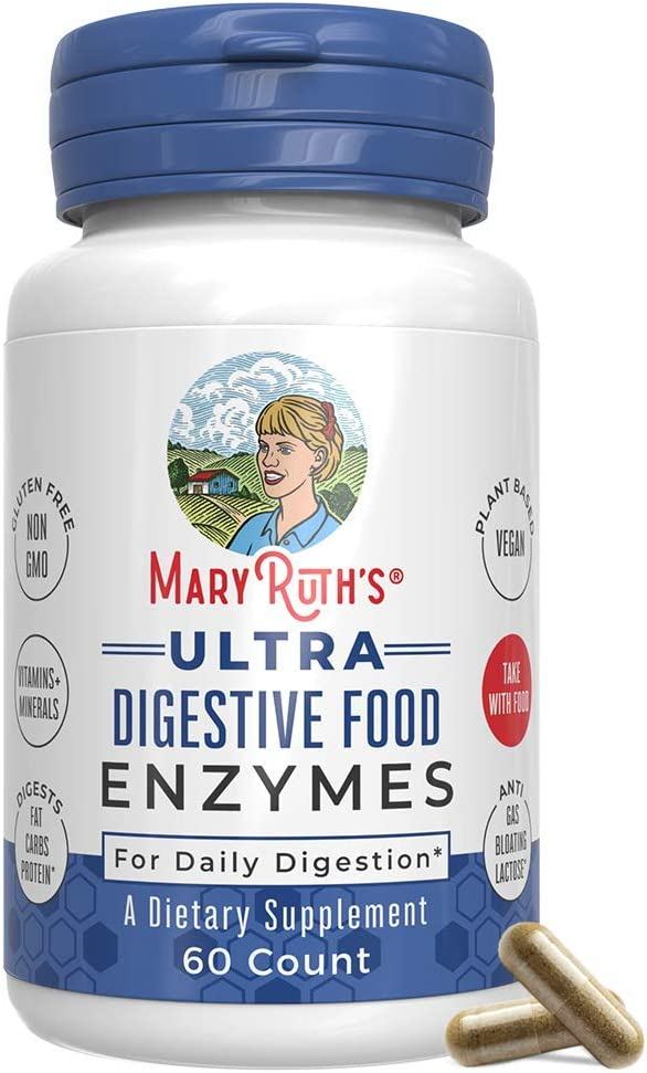 Ultra Vegan Digestive Food Enzymes (GMP Certified + Tested) by MaryRuth – Daily Digestion Enzyme Complex - Amylase, Lipase, and Lactase + Cofactor Vitamins & Minerals - Plant Based Non-GMO - 60 Count