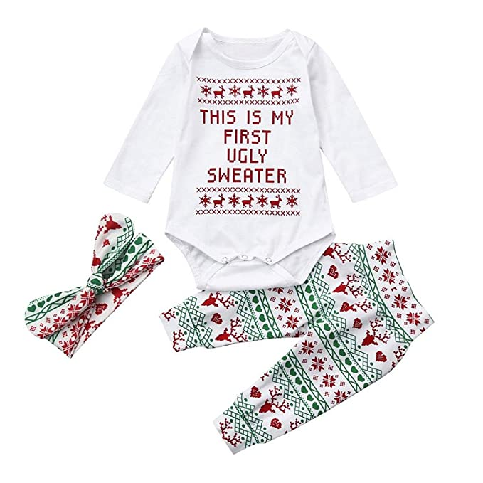 55ef079bd iumei My First Christmas Outfits 3PCS Baby Letter Long Sleeve Jumpsuit  Pants Headbands (White,