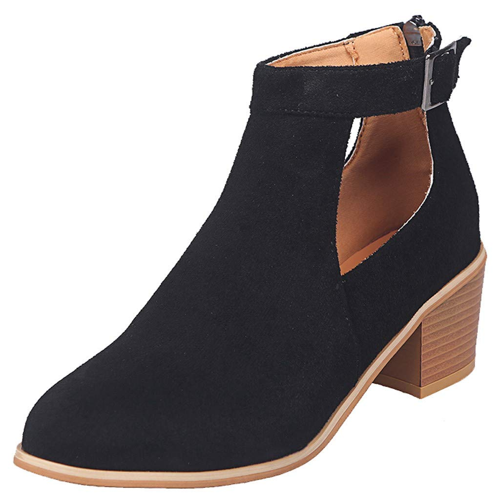 Black CHLZYD prevalent fashionable Fashion Womens Square Heel Ankle Boots Casual Retro Boots Buckle Single shoes