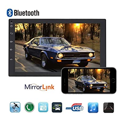 Android Car Stereo-7 Inch Universal Double Din in Dash Car Multimedia Player,Support Mirror Link, GPS Navigation, Bluetooth Radio,AUX Audio, Real Time Online, Video& Audio Playback by UNITOPSCI: GPS & Navigation