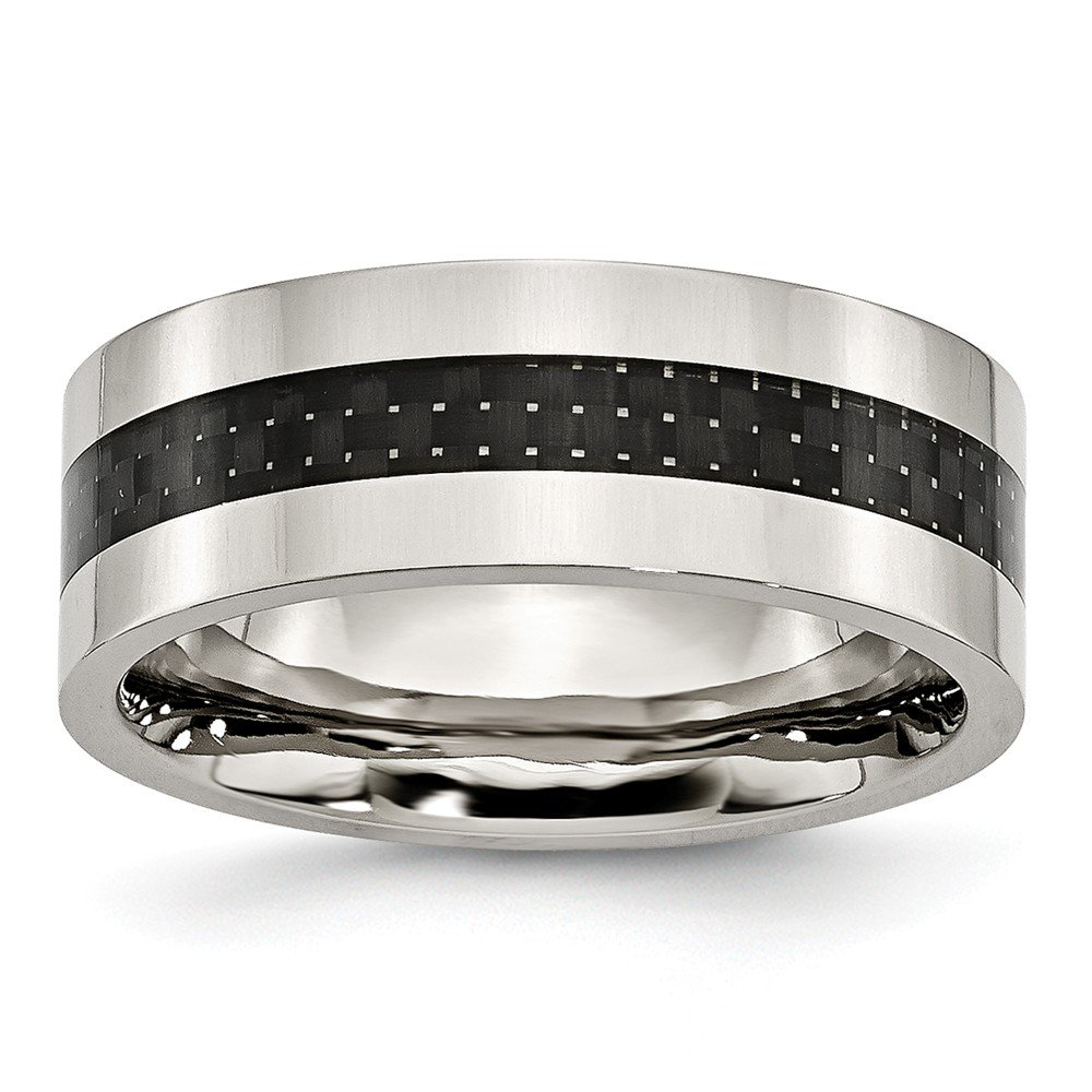 Jewel Tie Stainless Steel Black Carbon Fiber Inlay Flat 8mm Polished Wedding Band