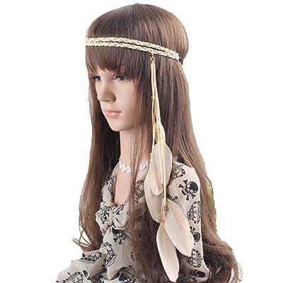 TININNA Bohème Style Indien Bandeau Coiffe avec des Plumes de Paon Accessoires pour Cheveux Plume de Paon Beige