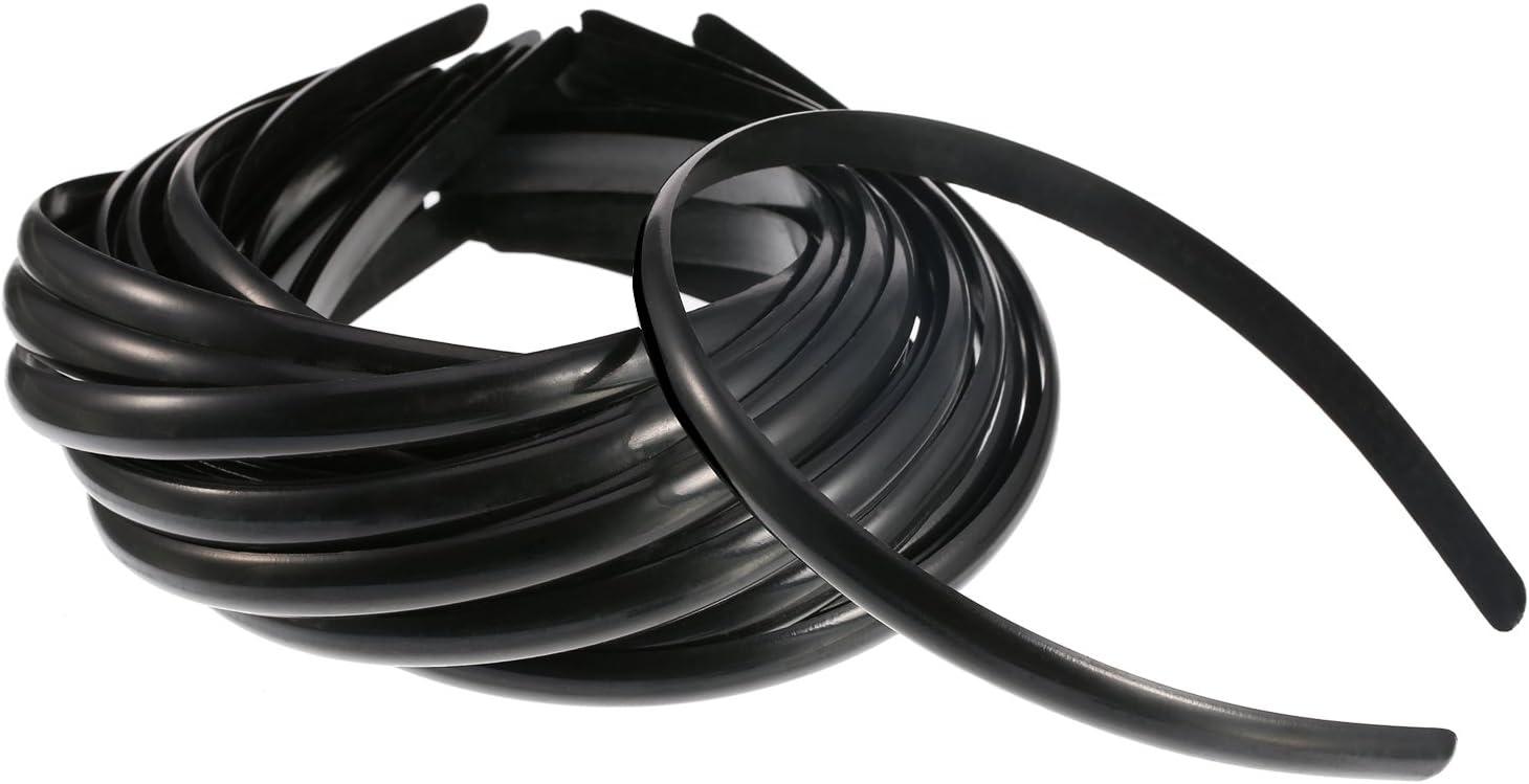 30 Piezas de Diadema de Pelo de Plástico Negra Banda de Pelo sin Dientes Diadema Plano para Niñas y Mujeres