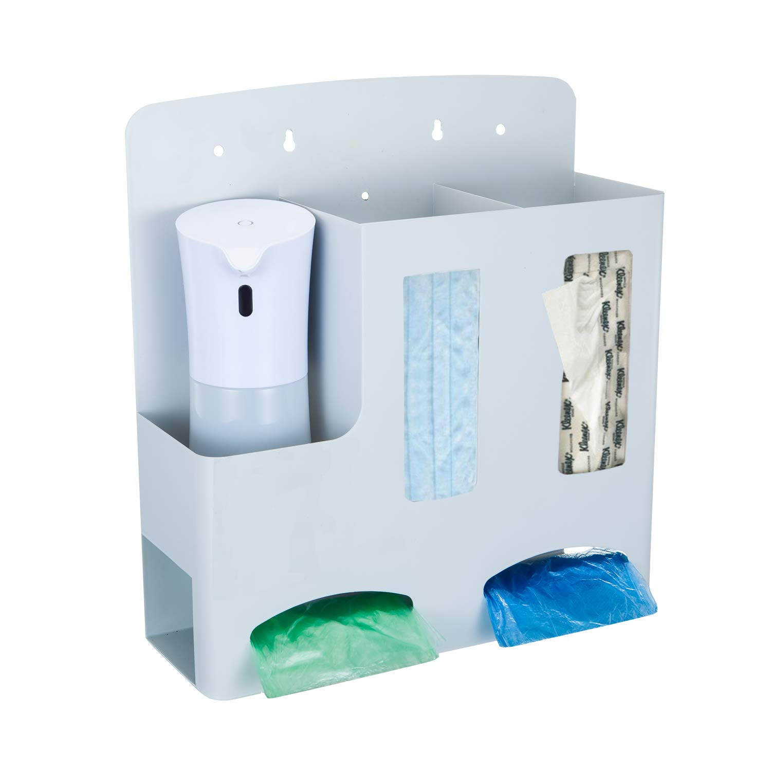Hygiene-Use Isolation Storage Box with 400ML Automatic Hand Sanitizer Dispenser - Accessories Holder Cabinet for Hospital, Office, Hotel, White,Wall-Mounted, 5 Compartments