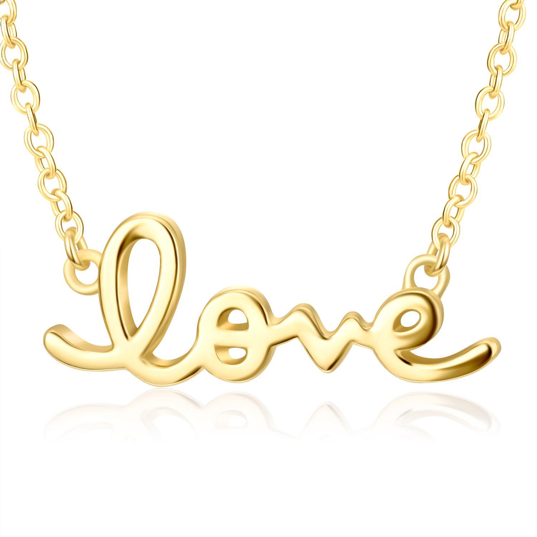 Lemondrop Cursive Love Necklace | Gold over 925 Sterling Silver