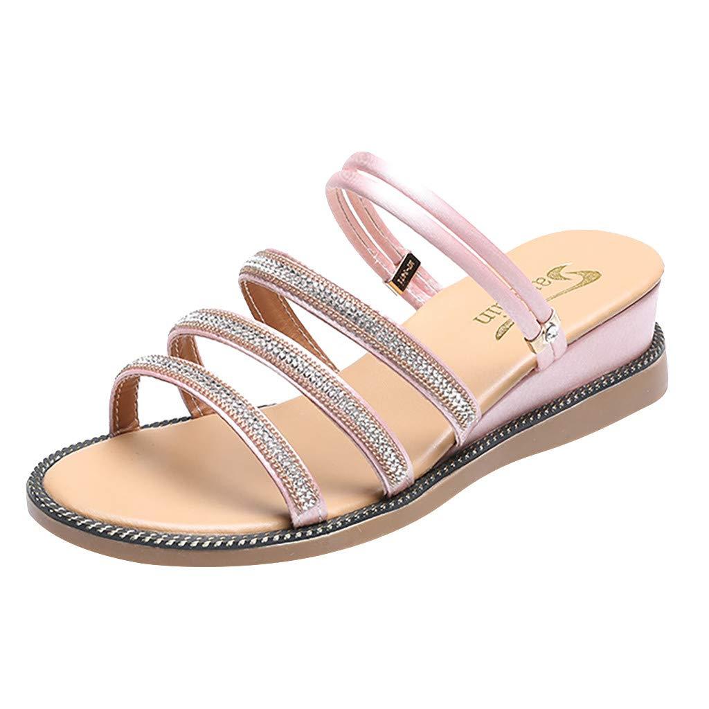 Kauneus Women Summer Sandals Beach Platform Crystal Flip Flops Flat Shoes Ladies Fashion Slipper Shoes Sandals Pink by Kauneus Fashion Shoes