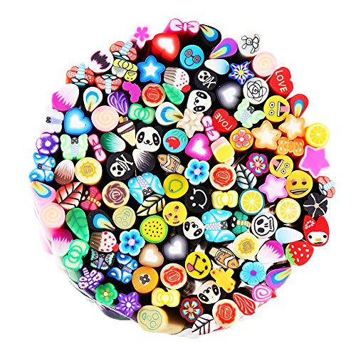 CCINEE 120 Pcs 3D Nail Art Nailart Manicure Fimo Canes Sticks Rods Gel Tips for Woman girls Nail Decoration , Slime and DIY Crafts