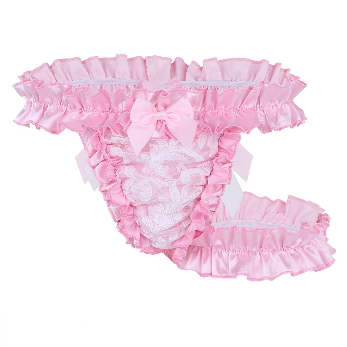 e4873b622e20 MSemis Men's Ruffle Frilly Satin Lace Sissy Maid Briefs Underwear Tutu  Knickers Crossdress Panties