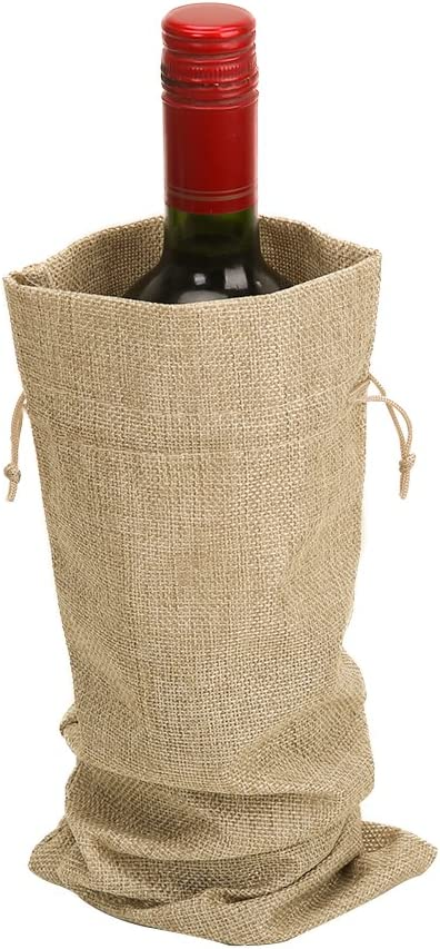 Jute Wine Bags Black, 10PCS 14 x 6.25 inches Hessian Wine Bottle Gift Bags with Drawstring
