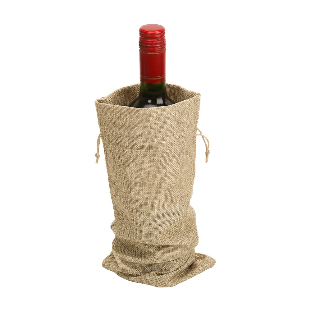 Marron Shintop Lot de 10/sacs /à vin en toile de jute 34/x 15/cm en toile de jute Bouteille de Vin Cadeau Sacs avec cordon de serrage
