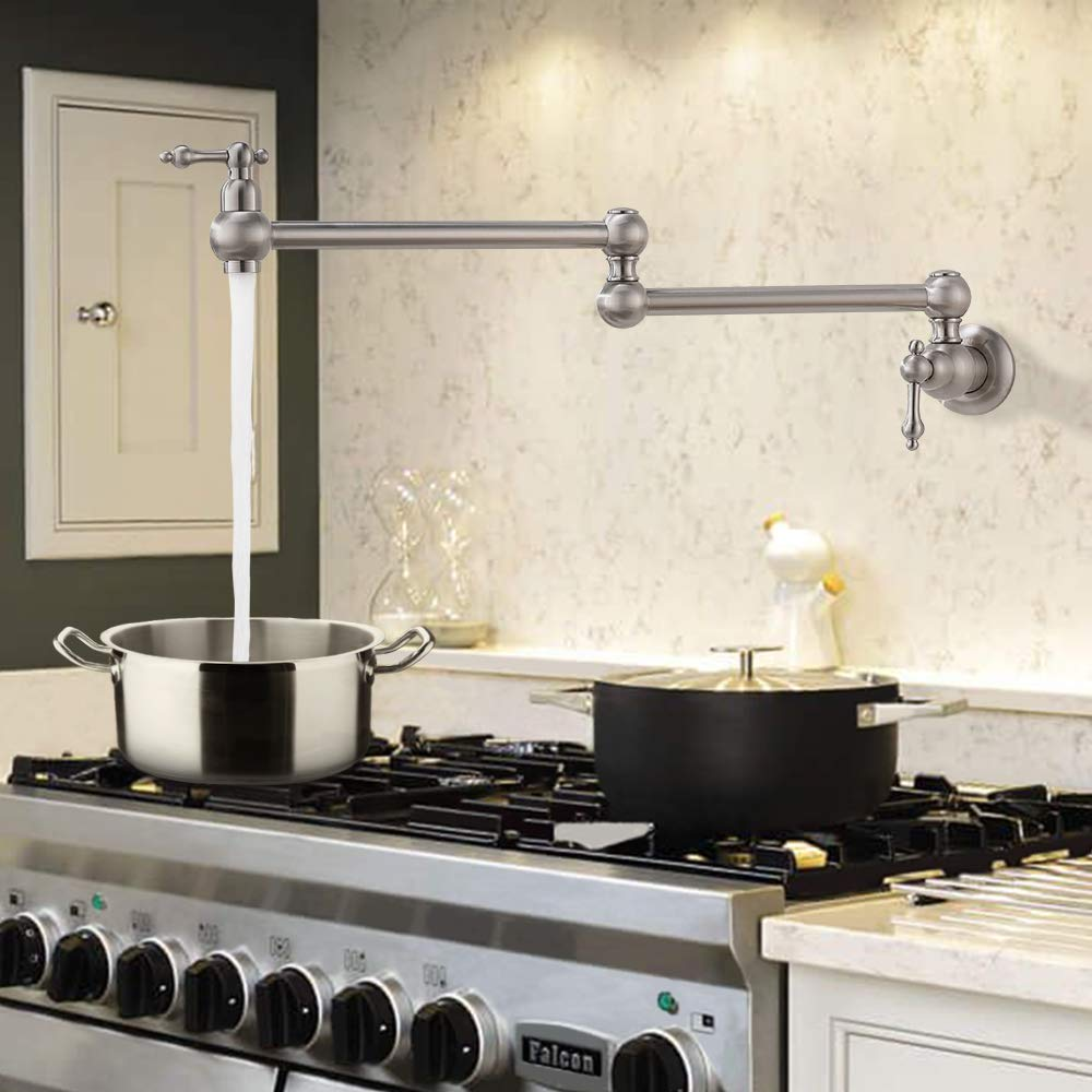 VOKIM Pot Filler Commercial Double Handle Wall Mount Brushed Nickel Pot Filler Faucet, Brushed Nickel Kitchen Faucet by VOKIM (Image #7)