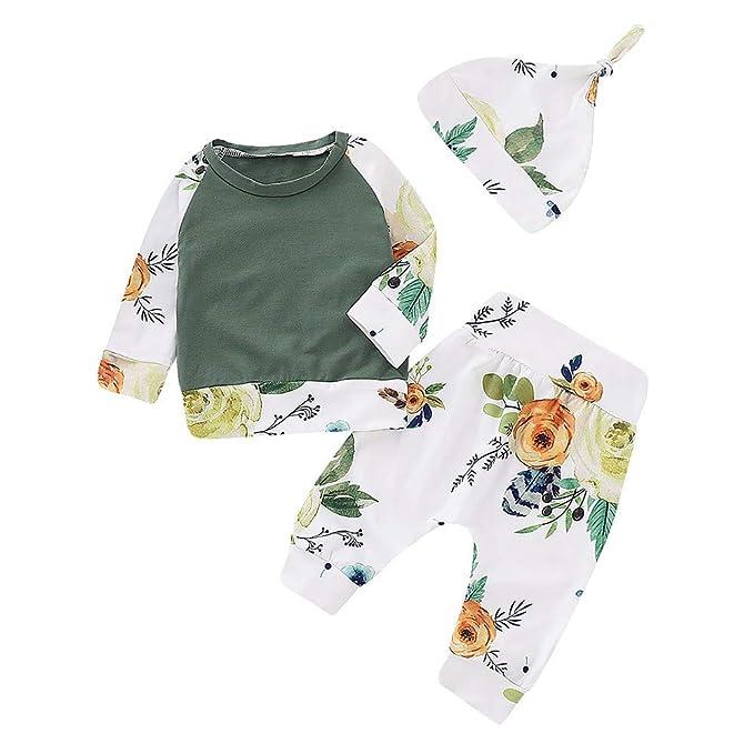 Tefamore Ropa Bebe Niñas Camisetas de Manga Larga y Floral Impresión Pantalones y Sombrero