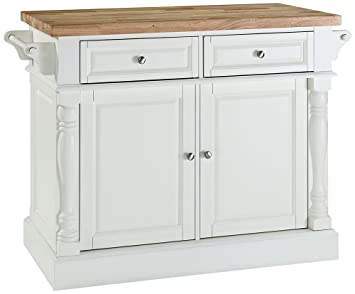 Crosley Furniture Butcher Block Top Kitchen Island in White Finish