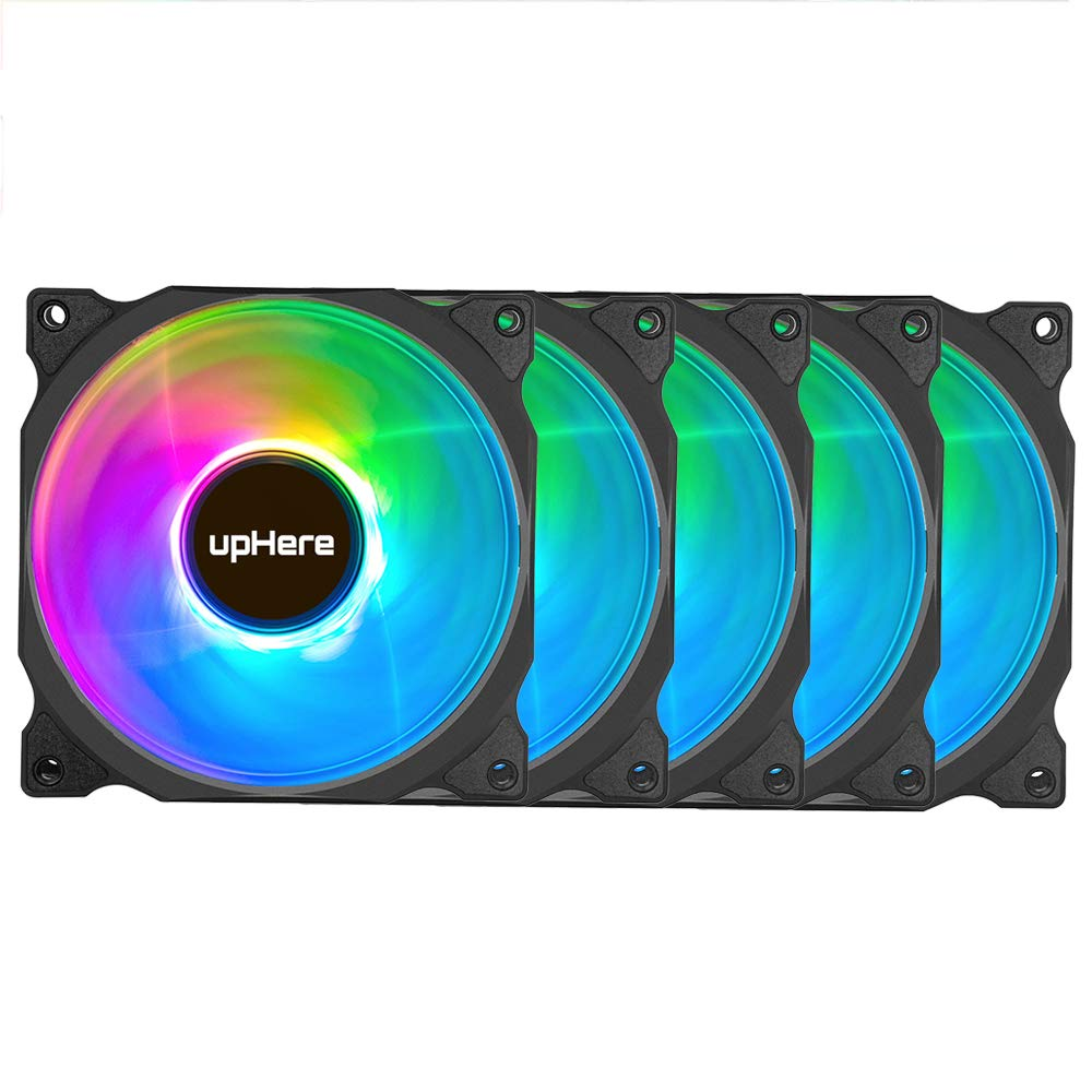 upHere Wireless RGB LED 120mm Case Fan,Quiet Edition High Airflow Adjustable Color LED Case Fan for PC Cases, CPU Coolers,Radiators System,5-Pack / C8123-5 by upHere