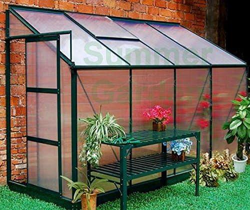 8 x 4 Lean para invernadero de policarbonato – verde, puerta corredera, base libre: Amazon.es: Jardín