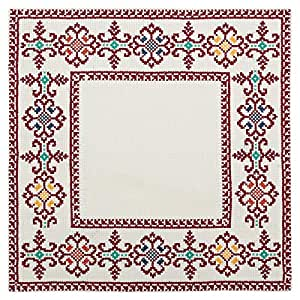 Turathna Cotton Handmade Cross Stitch Table Center Piece - Maroon And Orange