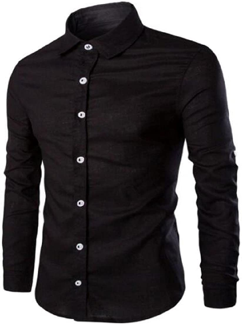RSunshine Men Long Sleeve Buttoned Turn-Down Collar Casual Fit Solid Shirts