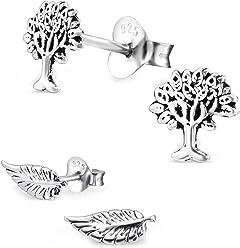 FIVE-D 2er Set Ohrringe Blatt und Lebensbaum 925 Silber in Geschenkbox