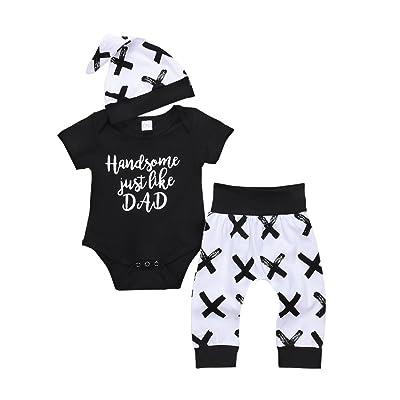 Loveble 2018 Baby-Boys Letter Print Romper+ Pants + Hat 3pcs Newborn Baby Clothing Set