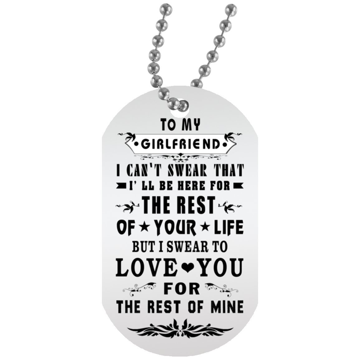 to My Girlfriend Dog Tag with Chain - Girlfriend and Boyfriend Necklace Personalised for Teen Her, On Valentine's Day, Military Inspired Aluminum Dog tag