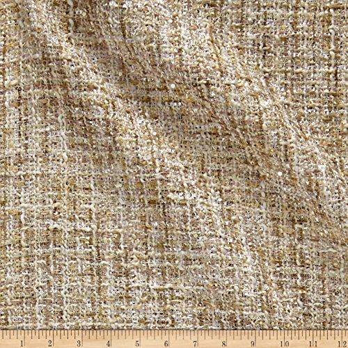- TELIO 0572674 Charlotte Tweed Metallic Ivory Blush Fabric by The Yard,
