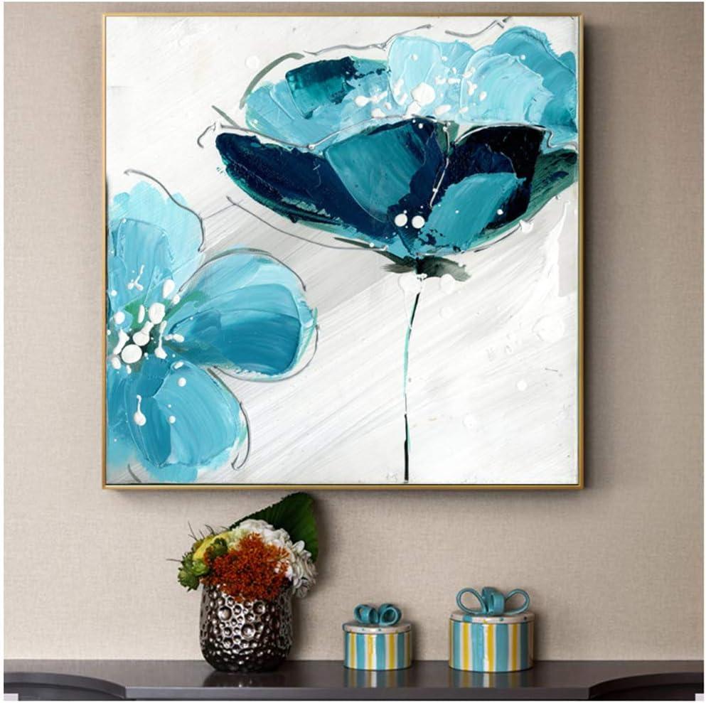 HANJIANGFBH Flores Pinturas al óleo Impresas en Lienzo Grandes Flores de Color Azul Claro Cuadros Abstractos para Sala de Estar póster de Pared e impresiones-50x50cm Sin Marco