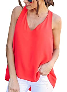 Bdcoco Womens Sleeveless V Neck Flowy Tank Tops Summer Tunic