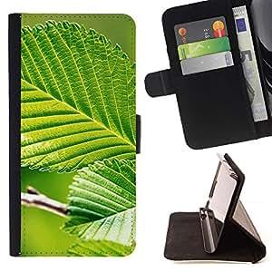 Momo Phone Case / Flip Funda de Cuero Case Cover - Hoja Verde Naturaleza Sun - Samsung Galaxy A5 ( A5000 ) 2014 Version