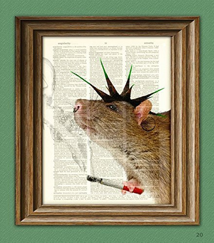 Ratty Rotten PUNK Rock RAT illustration beautifully upcycled dictionary page book art print]()