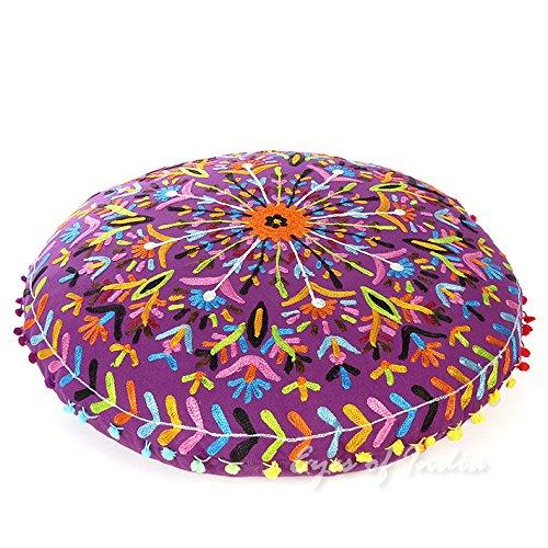 """EYES OF INDIA - 24"""" Purple Round Decorative Floor Cushion Se"""