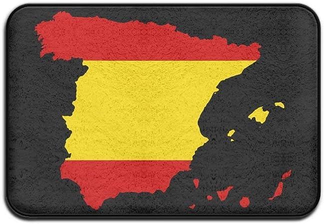 Vidmkeo Bandera de España Mapa Alfombrilla Antideslizante para Interiores y Exteriores para la Salud y el Bienestar Cocina Pasillos Baño Oficina Baño de baño Felpudo 23.6