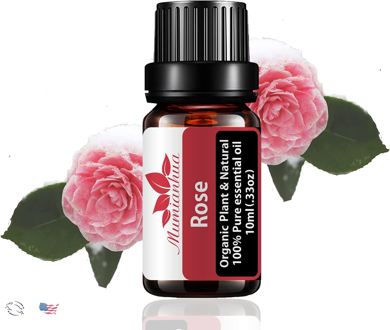 Rose Essential Oil Organic for Diffuser for Home, Therapeutic Grade Aromatherapy Oil for Skin, Prime Pure Essential Oil 10ml for Humidifier
