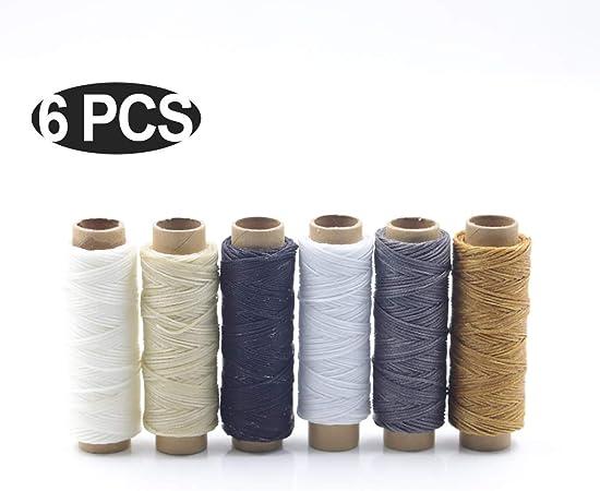 sokey - Cordón Encerado de 6 Colores de Piel, 300 m, 150 D, para Coser Cuero, artesanía, artesanía, Costura, artesanía, Costura: Amazon.es: Hogar
