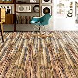 VanBest 3D Self-adhesive Flooring Stickers Simulation Wood Decals PVC Kitchen Bedroom Living Room Creative Art Decoration Width 20cm Length 500cm