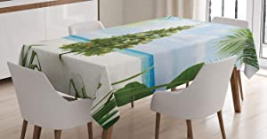 Ambesonne Christmas Tablecloth, Tree with Tinsel and Ornaments Tropical Island Sandy Beach Party Theme, Rectangular Table Cover for Dining Room Kitchen Decor, 60