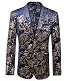 WULFUL Men's Luxury Casual Dress Floral Suit Notched Lapel Slim Fit Stylish Blazer Jacket Party Coats