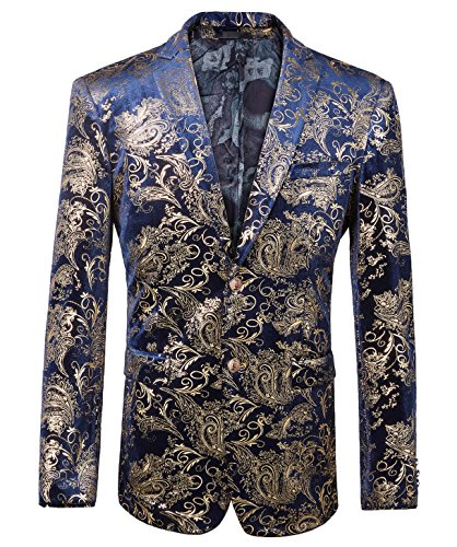 WULFUL Men's Luxury Casual Dress Floral Suit Notched Lapel Slim Fit Stylish Blazer Jacket Party Coats by WULFUL