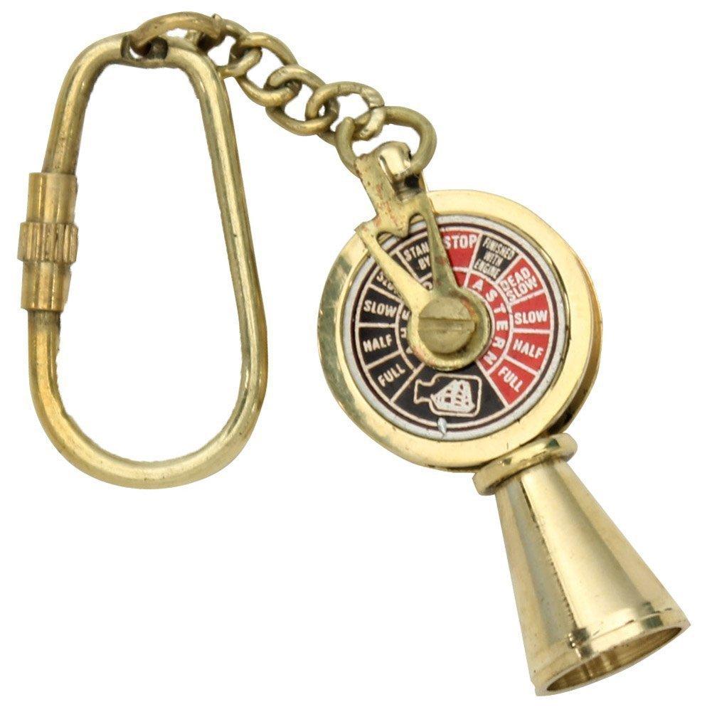 Hello Nauticals Store ノーティカルデコ ソリッドブラス タイタニックエンジンテレグラフキーリング 5インチ 真鍮   B07Q586JR2