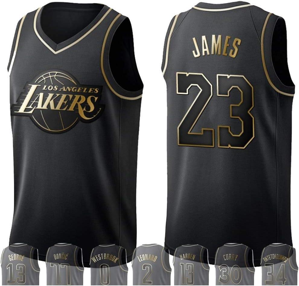 WOLFIRE WF Camiseta de Baloncesto para Hombre, NBA, Golden Edition. Antetokounmpo James Leonard Westbrook Durant Lillard Wade Jokic Russell Irving George Doncic Harden Curry. Bordado