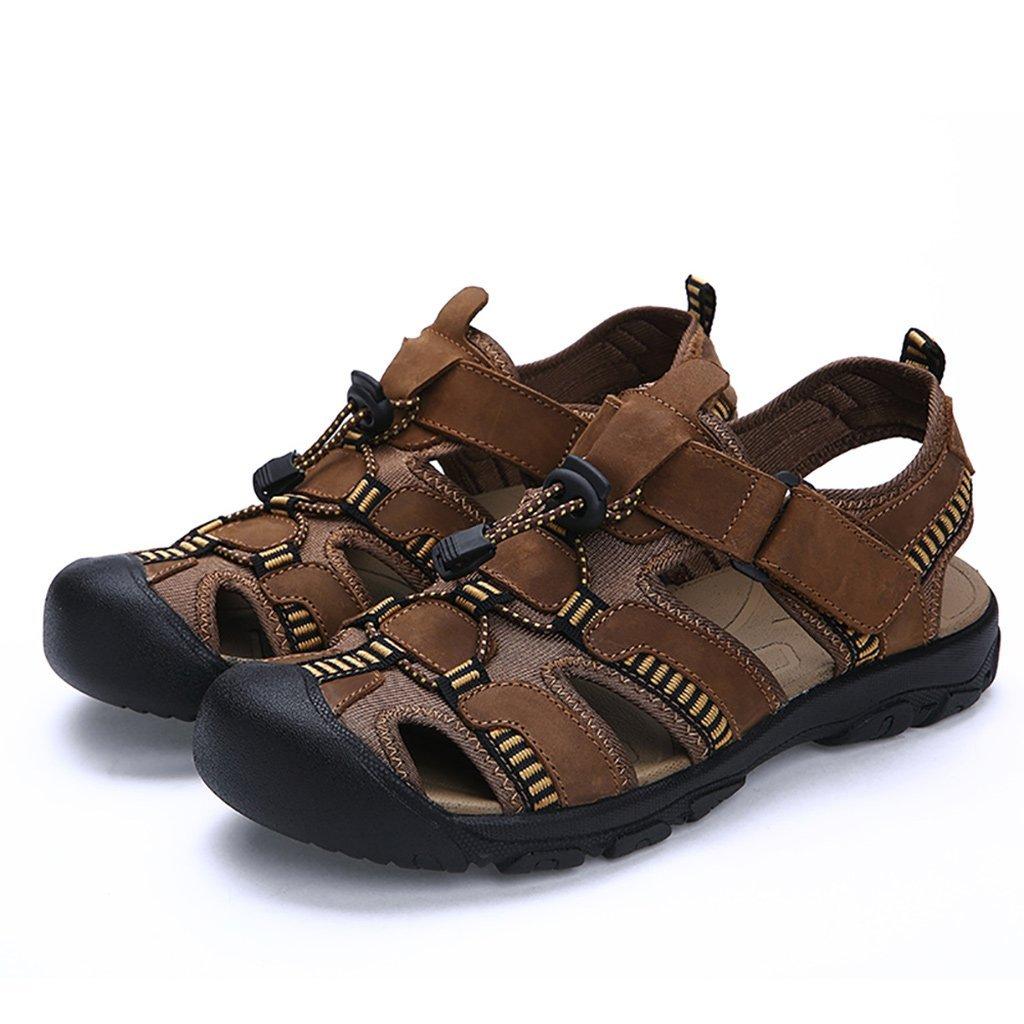 b8e7144aa9cc11 Arkat Men s Boy s Leather Fabric Hiking Shoes Hook Loop Fisherman Sandal