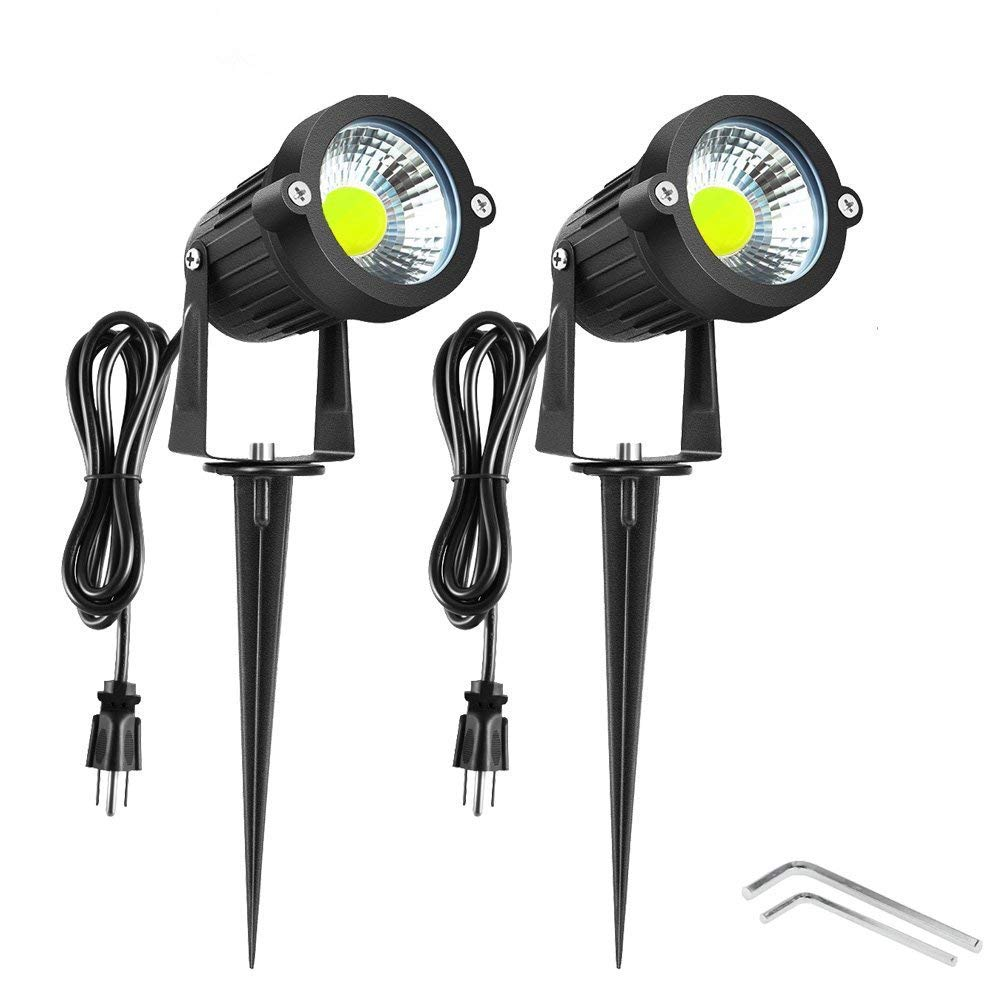 Onerbuy Bright Outdoor LED Landscape Lighting 5W COB Garden Wall Yard Path Lawn Light Lamp Spiked Stand Power Plug, Pack of 2 (Cool White)