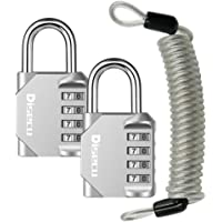 Disecu 4 Digit Combination Lock Outdoor Waterproof Padlock 2 Pack with Security Steel Cable for Luggage, Gym Locker…