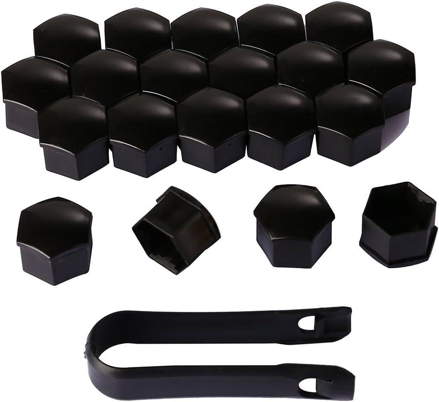20 Piezas Tapas de Tornillos Tapas de Tuercas Tapas Nuez Universal 17 mm Cubierta de Tuerca para Coches Ruedas con Herramienta Negro