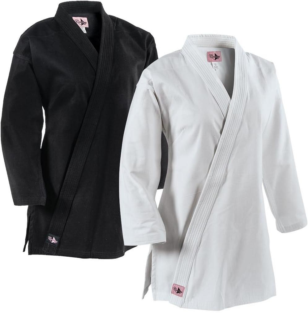 世紀Martial Arts 10オンスレディース拡張長従来空手GIジャケット ブラック Adult Large