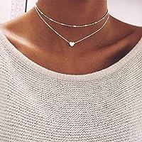 Jovono Skiktat hjärta hänge halsband silver pärlor halsband kedja för kvinnor och flickor e legering, colore: set1, cod…
